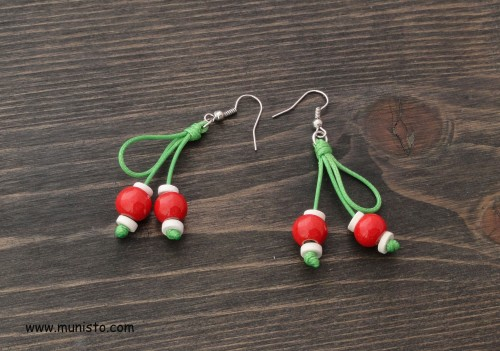 Martenitsa bracelet and earrings set Cherries images