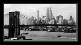 Slika Manhattan Skyline and Manhattan Bridge, uramljena slika