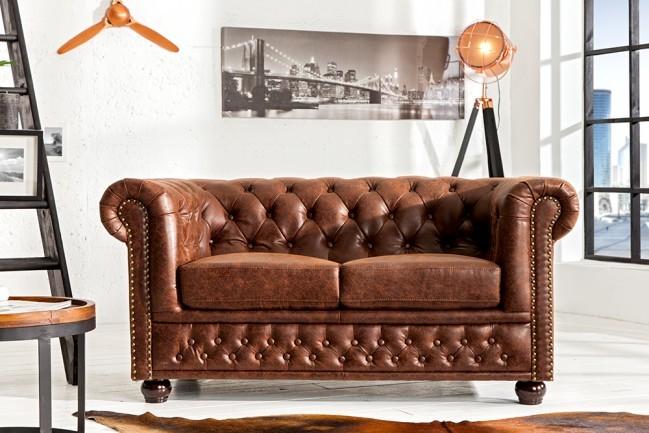 Vintage Bruin Leren Bank.Hoge Kwaliteit Lederen Sofa Chesterfield 2 Zits Vintage Bruin