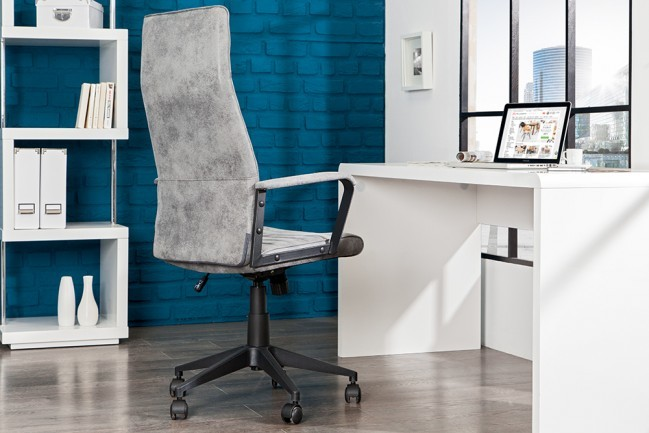 Vintage Design Bureaustoel.Modern Design Bureaustoel Lazio Highback Microfiber Vintage Grijze