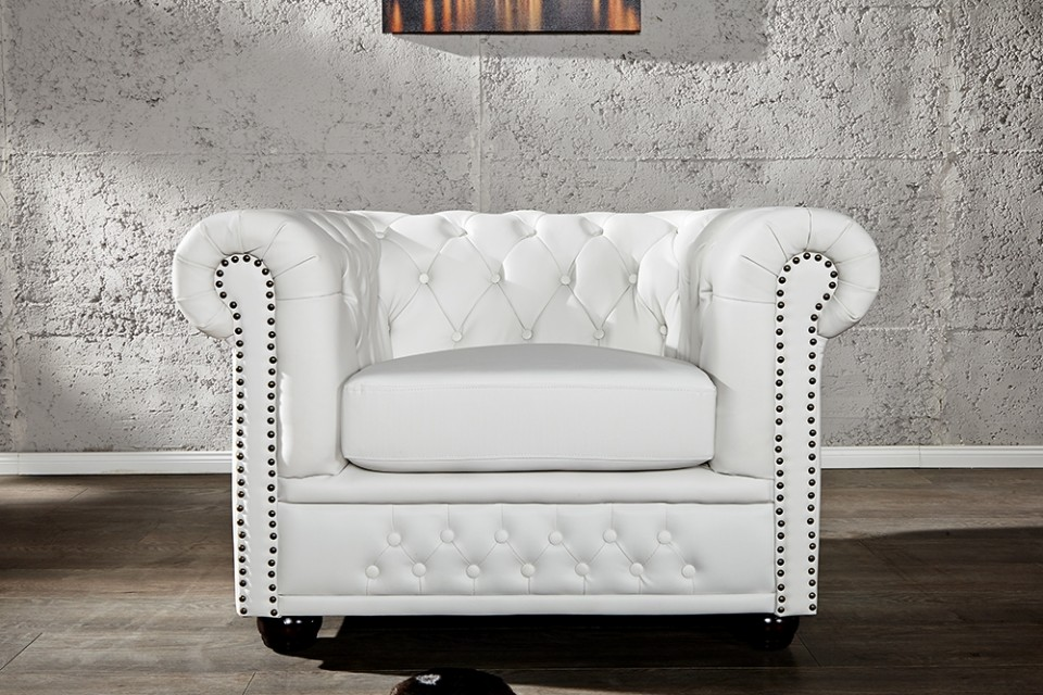 Witte Fauteuil Leer.Fauteuil Model Chesterfield Wit