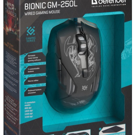 Slika Miš USB Defender Bionic GM-250L Optički 3200dpi Gaming + Podloga, Crna