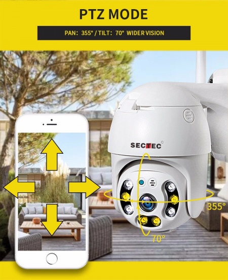 Poze ST-393-2MDL Camera supraveghere Pan/Tilt, WIFI, 2M/1080p, stocare in cloud sau pe card, 4 LED IR + 4 x LED alb