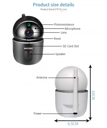 Poze SECTEC ST-891-2M-AI Camera WIFI, 1080P, 2MP, Pan/Tilt, stocare in cloud / TF, microfon