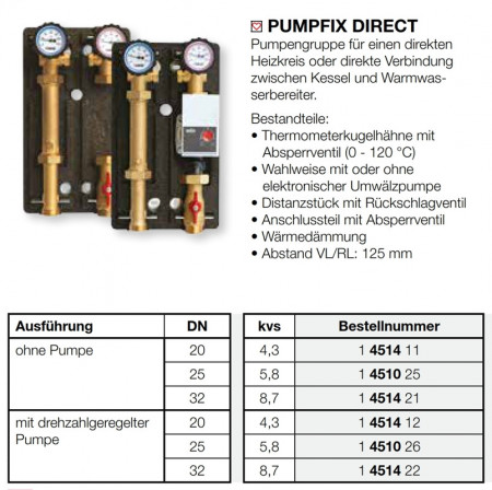 Poze Grup pompare PUMPFIX DIRECT fara pompa de circulatie, DN 25, cod 1 4510 25