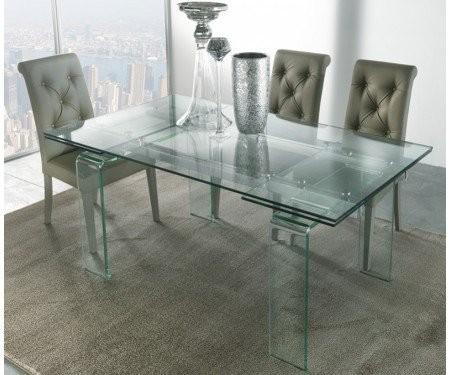 Tavolo In Vetro Nero Allungabile.Tavolo Rettangolare In Vetro Allungabile Mini Glass Di La Seggiola