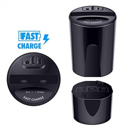 Statie Incarcare auto Wireless Fast Charge, port USB si Micro USB VAGTECH