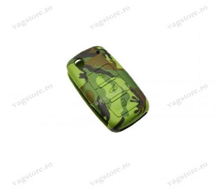 Husa Silicon pentru cheia cu 3 Butoane VW Camuflaj / Army Green