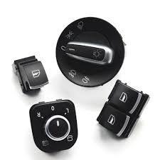 Set butoane 2 geamuri electrice insertie ornament Aluminiu VW Golf 5 6 Passat B6