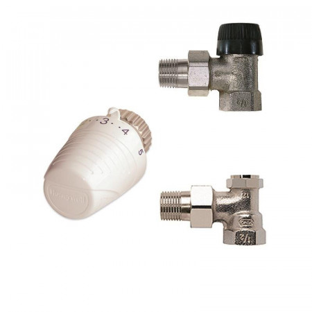 Set Robinet Honeywell VTL320EA15 format din: robinet termostatabil 1/2, cap termostatic, robinet retur 1/2