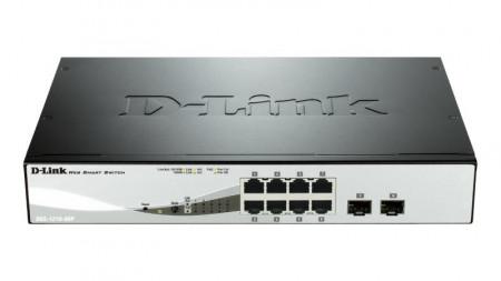 Switch D-Link DGS-1210-08P, 8 porturi Gigabit PoE 802.3af, PoE budget 45W, 2 porturi combo 1000BaseT/SFP, Capacity 20Gbps, 16K MAC, WebSmart, fanless