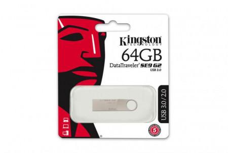 USB Flash Drive Kingston 64 GB DataTraveler SE9 G2 METAL CASING, USB 3.0, metalic
