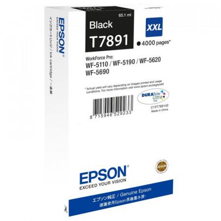 Cartus cerneala Epson T7891, black, capacitate 65ml, pentru Workforce Pro WP-5110DW, Workforce Pro WP-5190DW, Workforce Pro WP-5620DWF, Workforce Pro WP-5690DWF