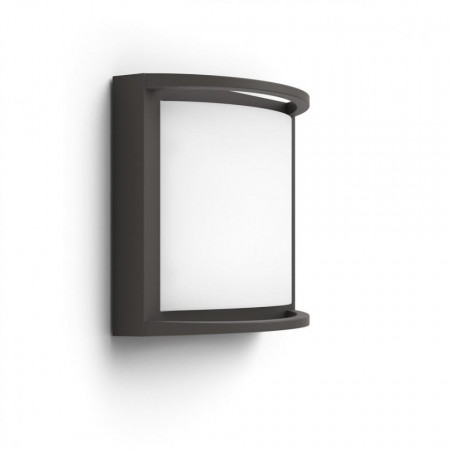 Aplica LED integrat pentru exterior Philips myGarden Samondra, 12W (83W), 240V, IP44, lumina alba calda, 1200 lumeni, culoare antracit, material aluminiu