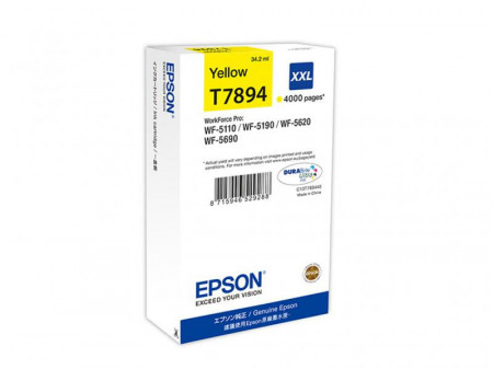 Cartus cerneala Epson T7894, yellow, capacitate 34ml, pentru Workforce Pro WP-5110DW, Workforce Pro WP-5190DW, Workforce Pro WP-5620DWF, Workforce Pro WP-5690DWF