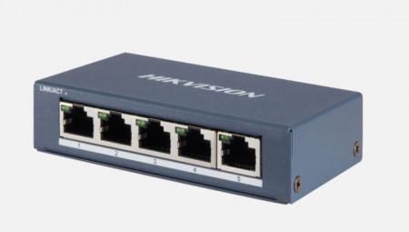 Switch 5 porturi Gigabit, Hikvision DS-3E0505-E, fara management, 5 x 1000M Ethernet ports, Supports IEEE 802.3, IEEE 802.3u and IEEE 802.3x, 1000M network access, RJ45 port, Full duplex, MDI/MDI-X adaptive, standard: IEEE 802.3, IEEE 802.3u, IEEE 802.3x,