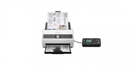 Scanner Epson DS-870N, dimensiune A4, tip sheetfed, viteza scanare: 65ppm, rezolutie optica 600x600dpi, ADF 100 pagini, duplex, Fiabilitate ciclu de lucru zilnic 7.000 Pagini,Formate iesire: BMP, JPEG, TIFF, Scanare către multi TIFF, PDF, Scanare către