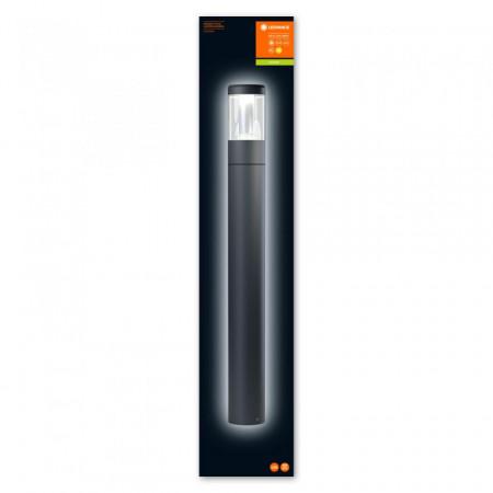 Stalp de exterior LED Ledvance 900, Endura Style Lantern Modern, 12W, 220-240V, IP44, lumina calda 3000K, 610 lumeni, garantie 5 ani, inaltime 900mm, diametru 110mm, material aluminiu, culoare gri inchis;