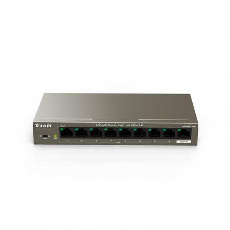 Tenda 9-Port 10/100Mbps Desktop Switch With 8-Port PoE, TEF1109TP-8- 102W; Standard and Protocol: IEEE 802.3、 IEEE 802.3u、IEEE 802.3x、IEEE 802.3af、IEEE 802.3at; Fixed Port: 8* 10/100Base-TX RJ45 Ports(Data/Power), 1* 10/100/1000 Base-TX RJ45 Port(