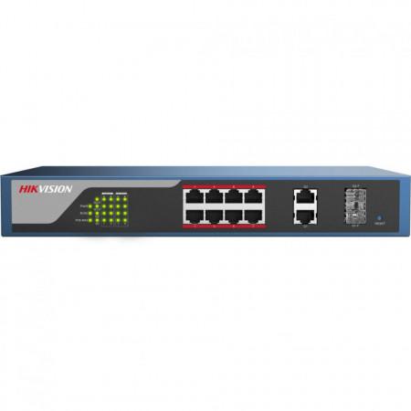 Switch POE Hikvision 8 porturi cu web management, DS-3E1310P-E; L2, Webmanaged, 8 100M PoE port, 2 1000M combo port, 802.3af/at, PoE powerbudget 123W.