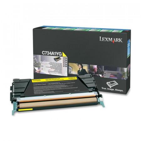 Toner Lexmark C734A1YG, yellow, 6 k, C734dn , C734dtn , C734dw ,C734n , C736dn , C736dtn , C736n , X734de , X736de , X738de , X738dte