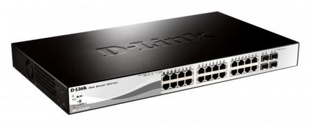 "Switch D-Link DES-1210-28P, 24 porturi 10/100Mbps, 2 porturi Combo 1000BaseT/SFP, 2 porturi Gigabit, 24 porturi PoE 802.3af, PoE Budget 193W, Capacity 12.8Gbps, 8K MAC, 3*fan, 19"" Rackmount, Web Smart"