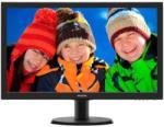 "Monitor 23.6"" PHILIPS 243V5LHSB, FHD 1920*1080, 60 Hz, TN, 250 cd/mp, 1ms, 16:9, WLED, 1000:1, 170/160, VGA, DVI, HDMI, Kensington lock, VESA100x100, cablu VGA inclus, culoare negru"