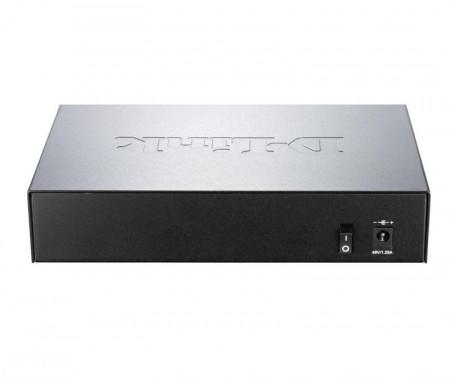 Switch D-Link DGS-1008, 8 porturi Gigabit, 4 porturi PoE 802.3af, PoE Budget 52W, Capacity 16Gbps, dektop, metal, negru