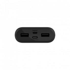 Belkin 10,000 mAh Power Bank, 1x USB-C, 2x USB-A, 15 cm USB-C to USB-A Cable - Black