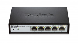Switch D-Link DGS-1100-05, 5 porturi Gigabit, Capacity 10Gbps, 8K MAC, Desktop, Easy Smart, fanless, metal