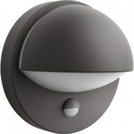 Aplica de exterior cu senzor de miscare Philips myGarden June, bec economic inclus 1x12W, gri inchis