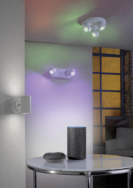 Aplica Trio Sancho, incl. 2x SMD LED, 3W, 230V, IP20, culoare temperatura 3000-5000K, 300 lumeni, durata de viata 30.000 de ore, variator de lumina integrat, functie memorie, nu este potrivit pentru variator exterior, schimbator de culoare RGBW, WiZ, mont