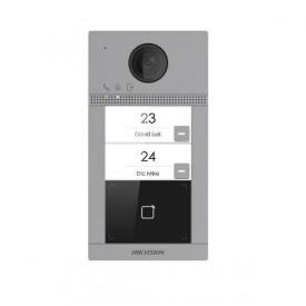 Post de exterior videointerfon Hikvision DS-KV8213-WME1/Flush, WIFI, montaj incastrat, 2 x buton apelare ( pentru 2 familii), camera video 2MP True WDR ( unghi vizualizare: Horizontal: 129grade Vertical: 75grade), vizualizare pe timp de noapte IR maxim 3