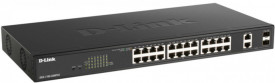 "Switch D-Link DGS-1100-26, 24 porturi Gigabit, 2 porturi SFP, Capacity 52Gbps, 11"" Desktop/Rackmount, Easy Smart, fanless, metal"