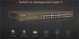 Tenda 24-Port Gigabit Ethernet managed L3 switch, TEG5328F; Standard and Protocol: IEEE802.3、 IEEE802.3u、 IEEE802.3ab、 IEEE802.3ad、 IEEE802.3z、 IEEE802.3x、IEEE802.1p、 IEEE802.1q、 IEEE802.1w、 IEEE802.1d、 IEEE802.1s, 24 x 10/100/1000 Bas
