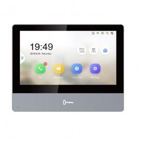 "Monitor videointerfon modular 7"" color ultra slim design Hikvision DS-KH8350-TE1; Reddot award 2017 winner; ecran LCD 7"" color cu touch screen; rezolutie ecran 1024 × 600; design ultra slim 8.6mm; material aluminiu (Aerospace-grade aluminum); Conectivita"