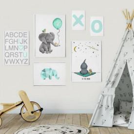 Set 6 tablouri decorative Elefant
