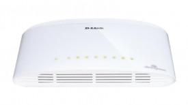 Switch D-Link DGS-1008D, 8 porturi Gigabit, Capacity 16Gbps, fara management, desktop, plastic, alb