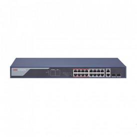 Switch POE 16 porturi Hikvision DS-3E0318P-E(B);fara management; L2 ,Unmanaged, 16 100M PoE port, 2 1000M combo port, 802.3af/at, PoE powerbudget 230W