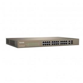 Tenda 24-Port 10/100Mbps + 2 Gigabit Web Smart PoE Switch, TEF1226P-24- 440W; Standard and Protocol: IEEE 802.3, IEEE 802.3u, IEEE 802.3z, IEEE 802.3ab, IEEE 802.3x, IEEE 802.1D, IEEE 802.1W, IEEE 802.1Q, IEEE 802.3af, IEEE 802.3at; Fixed Ports: 24x 10/10