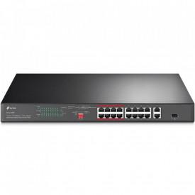 TP-Link, Switch 16 porturi, 16 PoE+ 10/100Mbps RJ45 Ports,2 10/100/1000Mbps RJ45 Ports, 1 Combo Gigabit SFP Slots, 2 Fans, Standard: 802.3at/802.3af, PoE Power Budget: 150 W.