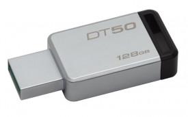 Kingston USB Flash Drive DT50/128GB- DataTraveler® 50, Speed2 USB 3.1 Gen 1 3- 110MB/s read, 15MB/s write, 128GB, Metal casing with black