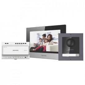 Kit videointerfon IP Hikvision DS-KIS702, conexiune pe 2 fire, pentru o singura familie, componenta kit: post exterior DS-KD8003-IME2/Surface x 1buc, post interior DS-KH6320-WTE2 x 1buc, distribuitor 4 canale DS- KAD704 x 1buc, sursa alimentare x 1 buc, T