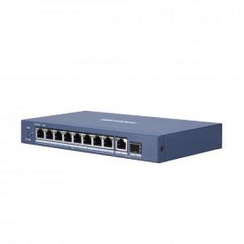 Switch 8 porturi POE Gigabit Hikvision DS-3E0510P-E; L2, UNMANAGED; 8 × gigabit PoE ports, 1 × gigabit RJ45 port, and 1 × gigabit SFP fiber optical port; porturile 1-8 alimentare POE maxim 30W per port; buget total switch 110W; PoE output power managem