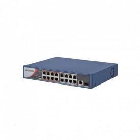 """Switch POE 16 porturi Hikvision, DS-3E0318P-E/M(B); L2, L2, Unmanaged, 16 10/100M RJ45 PoE ports, 1 Gigabit RJ45 uplink port, 1 Gigabit SFP uplink port, 802.3af/at, PoE power budget 130W, """"Extend"""" Mode: ports 9- 16 support up to 250meter, 6KV surgy protec"""