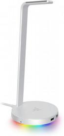 Razer Base Station V2 Chroma - Chroma Enabled Headset Stand with USB 3.1 Hub and 7.1 Surround Sound - Mercury (White)
