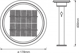 Stalp de exterior LED Solar cu Senzor LEDVANCE ENDURA STYLE Solar Sensor Post Double Circle 40CM 6W ST, temperatura de culoare 3000K, intensitate luminoasa maxima 400 lumeni, 3 moduri functionare selectabile prin buton, clasa protectie IP44, montaj aplica