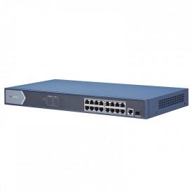 Switch 16 porturi POE Gigabit Hikvision DS-3E0518P-E; L2, UNMANAGED; 16 × Gigabit PoE ports, 1 × Gigabit RJ45 port, and 1 × Gigabit SFP fiber optical port; porturile 1-16 alimentare POE maxim 30W per port; buget total switch: 230W; PoE power management