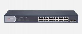 Switch 24 porturi POE Gigabit, Hikvision DS-3E1526P-E, Web management, 24 × gigabit PoE ports( port management), and 2 × gigabit fiber optical ports, IEEE 802.3at/af standard for PoE ports, AF/AT camera can reach up to 300 m in extend mode, PoE watchdog