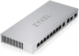 Zyxel, XGS1010-12 12PORT GBE unmanaged switch, 2-Port 2.5G and 2-Port 10G SFP+, Switching capacity: 66 Gbps, 8 x RJ-45 10/100/1000 Mbps Ethernet port, 2 x RJ-45 100/1000/2500 Mbps Ethernet port, 2 x SFP+.